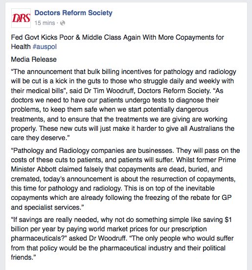 """patients will suffer"" says @drsreform #MYEFO https://t.co/SFiiFJxpSQ"