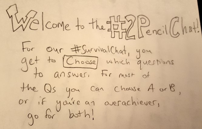 Welcome to the #2PencilChat. You're in the home stretch, Baby! https://t.co/IHsXRvO2eK