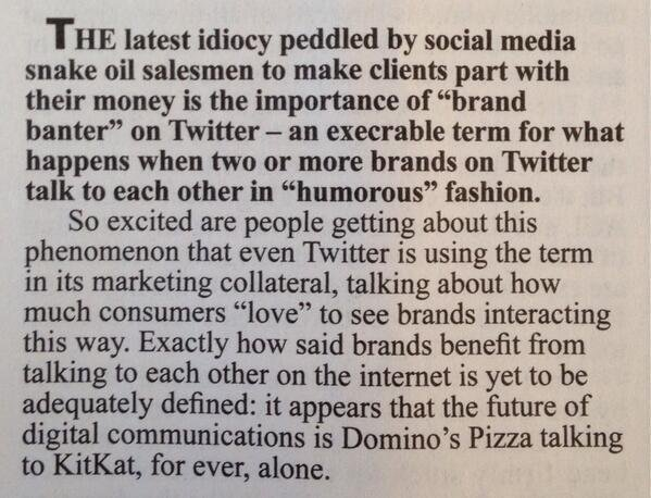 As 2016 closes, the most insightful social media commentary of the year comes from @PrivateEyeNews on 'Brand banter' https://t.co/V7WV7MJEPV