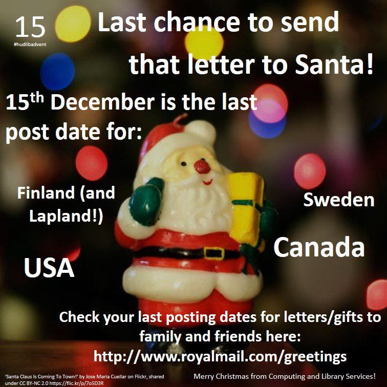 Last chance to send that letter to Santa! Check other last posting dates here https://t.co/L1RkKPi7vT #hudlibadvent https://t.co/mZ6dEhrNSm