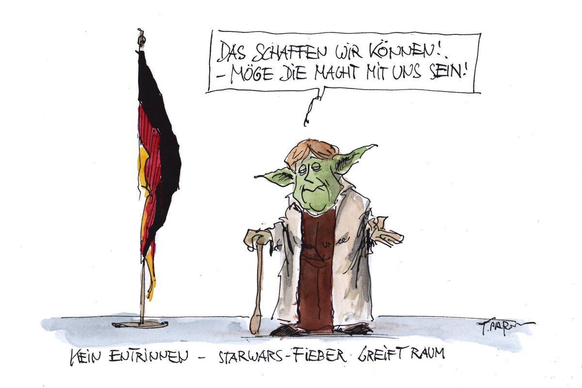 """""""Star Wars""""-Fieber greift um sich. Karikatur von Thomas Plaßmann #merkel #jedi #yoda #StarWarsForceAwakens"""