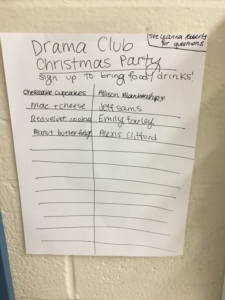 christmas party food sign up sheet