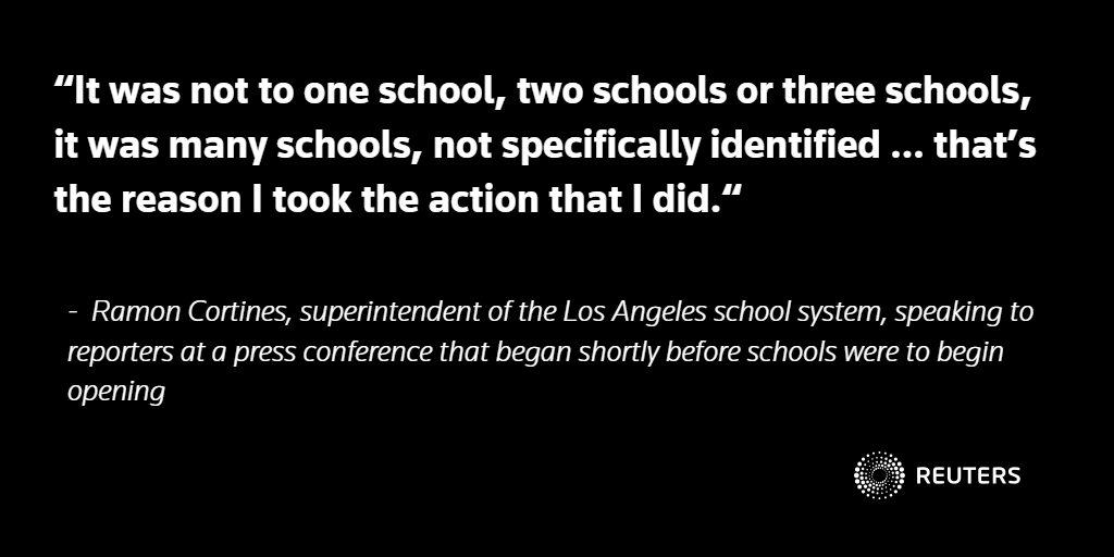 Los Angeles closes schools for 643,000 students after threat: https://t.co/GkXeb874kd https://t.co/ZM1PbfIBGr