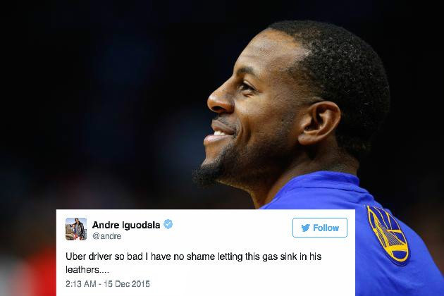 Andre iguodala has no shame farting in bad uber driver's car