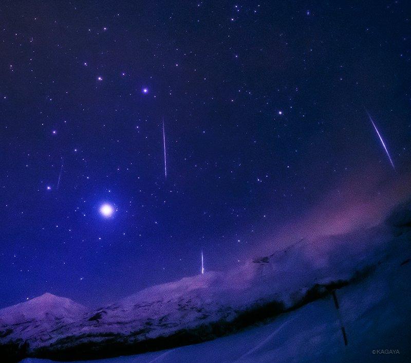 北海道で撮影された流れ星