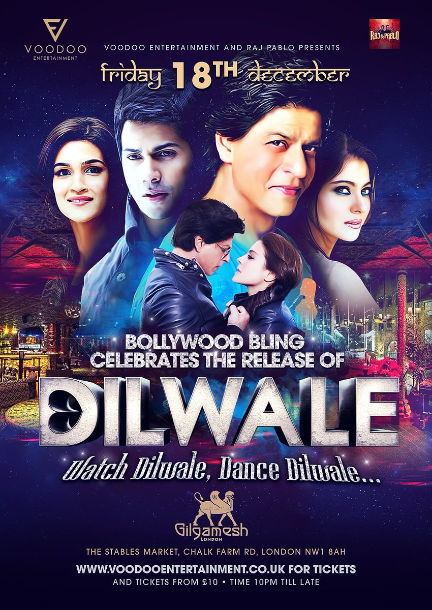 Excited for #Dilwale release, join us @GilgameshBar #Bollywood style with @rajpablo FRIDAY 18TH DECEMBER https://t.co/Ura5FPX33T