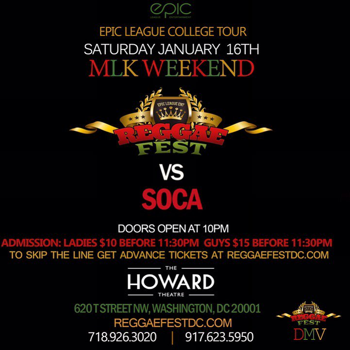 Saturday Jan 16th #ReggaeFest VS #Soca #mlkweekend at the #HowardTheatre Ladies $10 B4 11:30pm Guys $15 B4 11:30pm S https://t.co/dURaTlMZn9