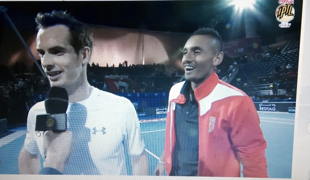 Hilarious sequence of pictures of banter between @andy_murray and @NickKyrgios https://t.co/pUTv8ZS13Q
