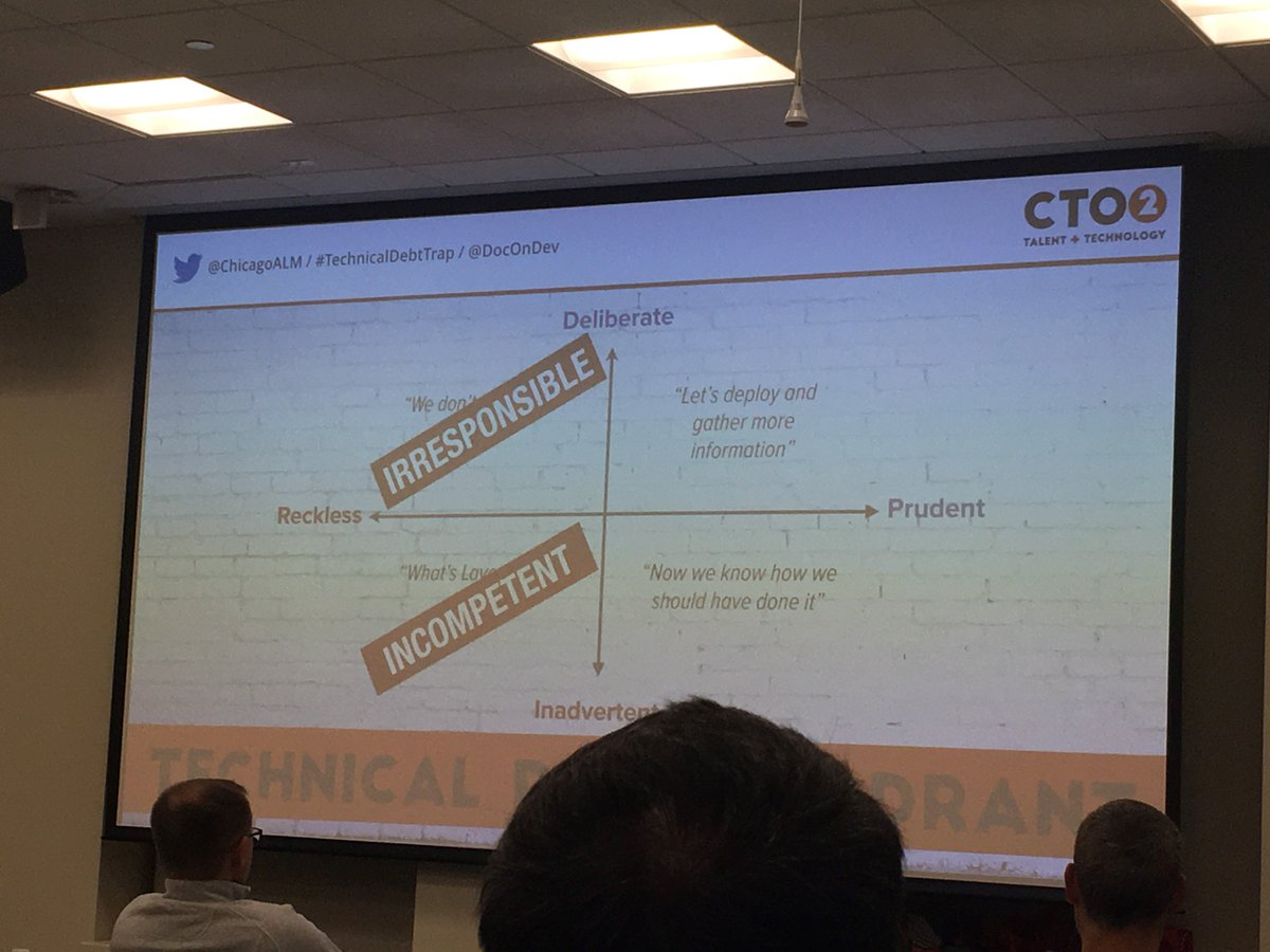 """Irresponsible and incompetent behavior is NOT technical debt"" ~@DocOnDev at @ChicagoALM https://t.co/qNUXJhcxds"