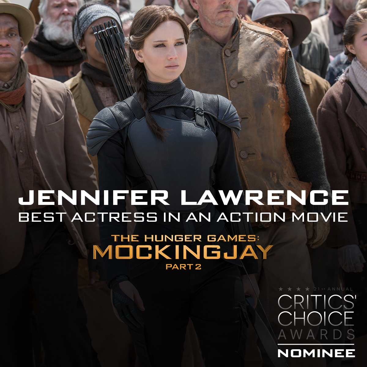Congrats #MockingjayPart2's Jennifer Lawrence on Best Actress in an Action Movie @CriticsChoice nom! #CriticsChoice