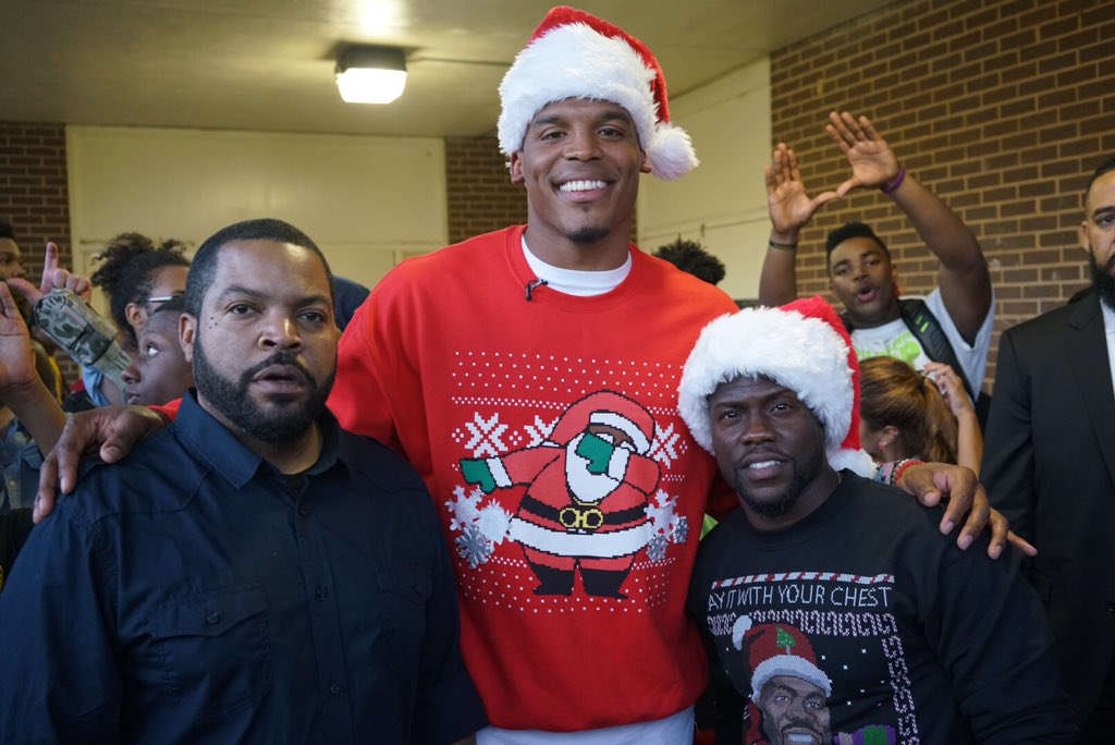 Me, Cam Newton and a fake ass elf... https://t.co/o66KYKBz11
