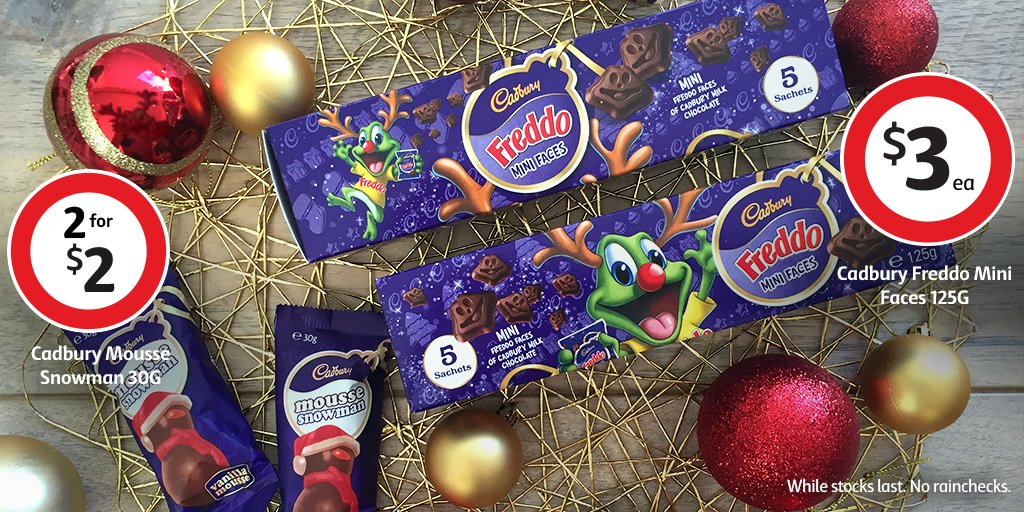 coles supermarkets on twitter special edition cadbury mousse snowman and freddo mini faces while stocks last no rainchecks cadbury christmas - Coles Christmas Decorations