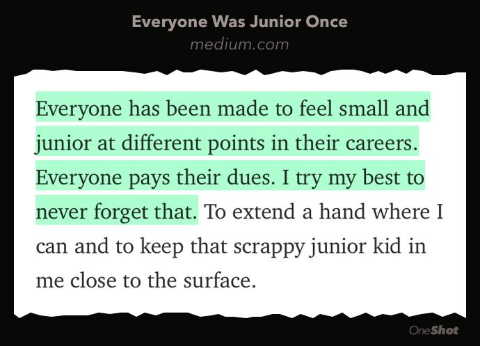 """Everyone was junior once."" via @bryce  https://t.co/6LlwOLNTqn https://t.co/vlGWXAjSds"