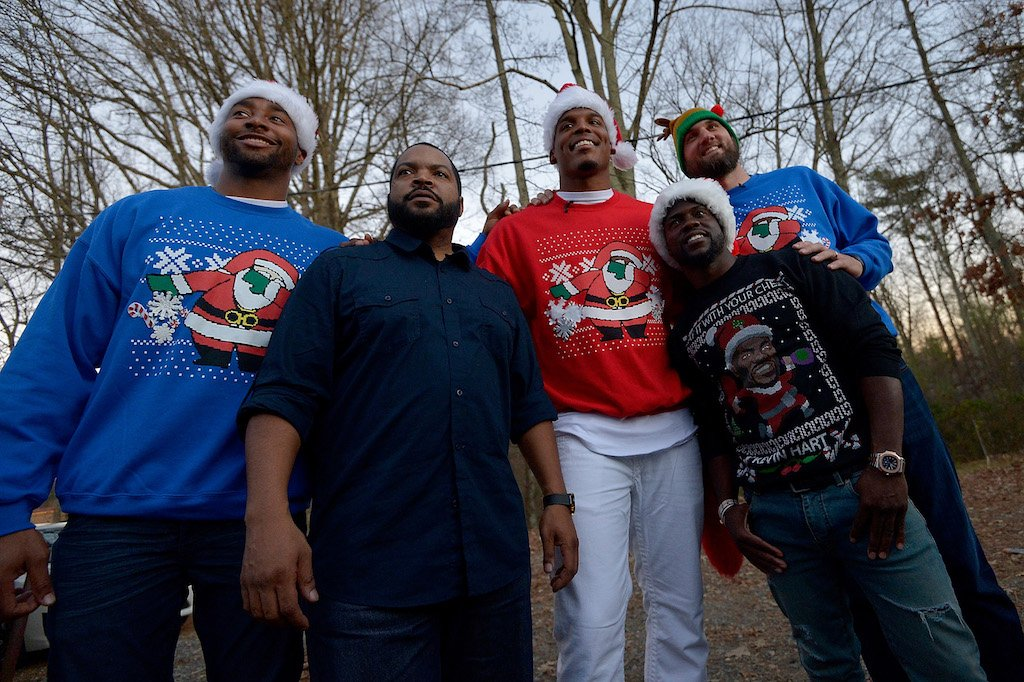 """.@KevinHart4real  @CameronNewton @IceCube2 surprise, dab on #NC High School as part of """"Santa Cam's Surprise Sleigh"""" https://t.co/gnCyt5INQH"""