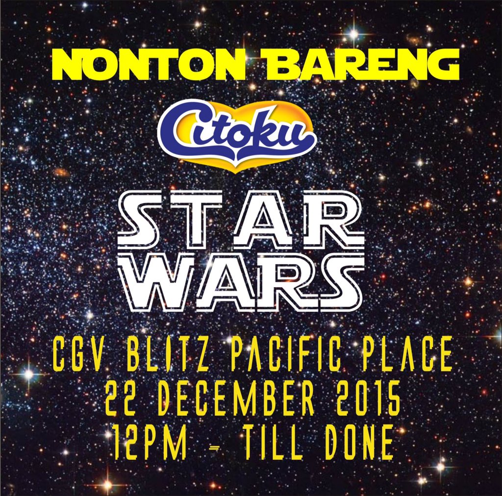 Menjelang Star Wars: The Force Awakens, yg mau ikutan #NontonBarengCitoku ayo foto gaya Star Wars ala kmu! #citokuis https://t.co/qMRwQEGO47