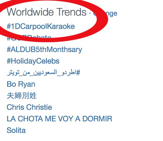 Congrats #LateLateShow! #1DCarpoolKaraoke is the #1 Worldwide trend! You're 1 hour away, West Coast. Don't miss out! https://t.co/XbwlBU1Isg