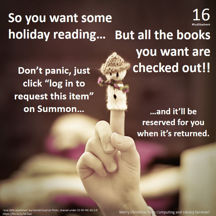 For #hudlibadvent Day 16, here's a tip on what to do if all the books you want are on loan... https://t.co/r2I5jZBwCI