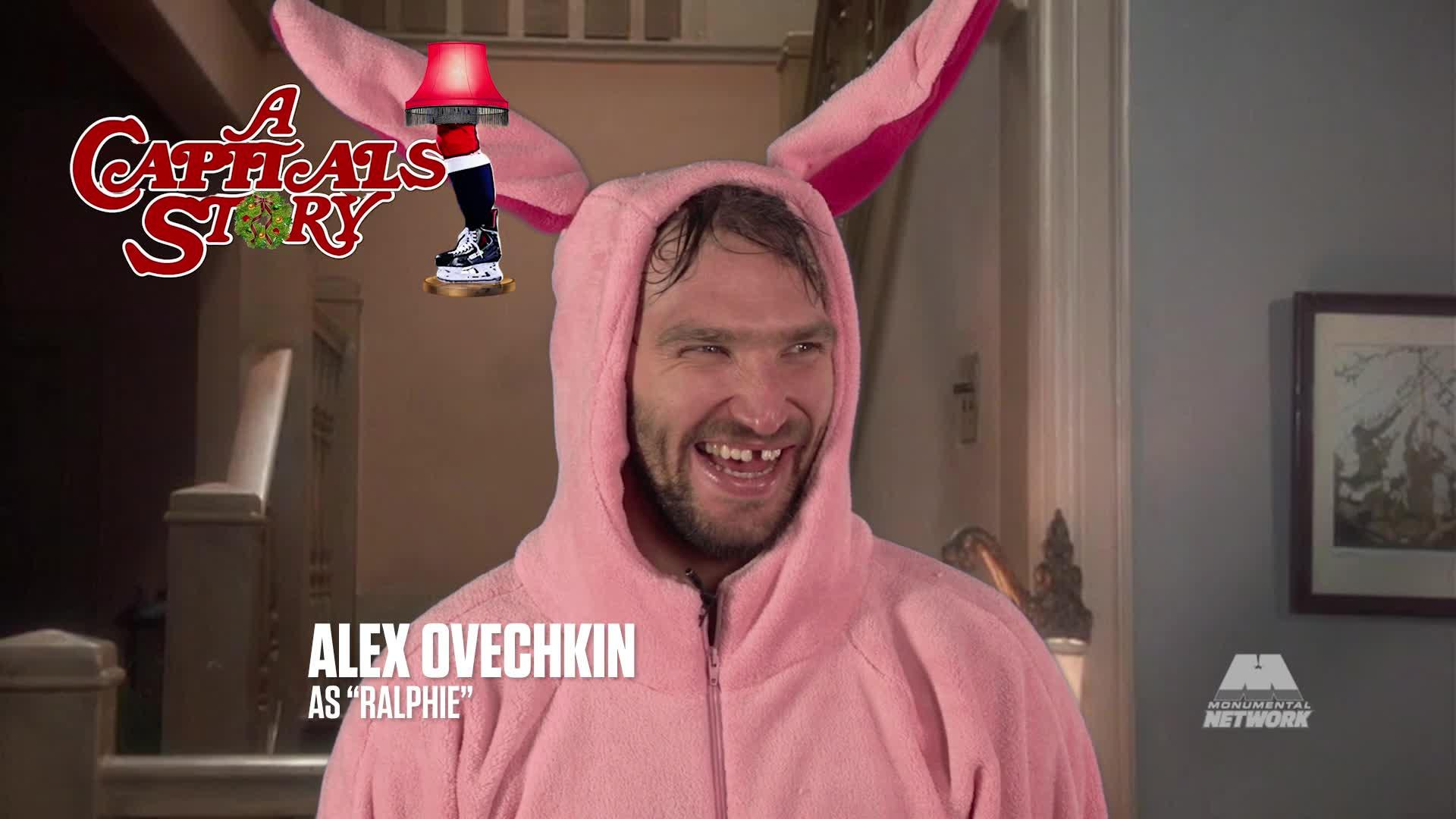 ovechkin gets points for reciting dialogue and missing a tooth but chara has the height advantage a six foot nine dude in a pink bunny costume