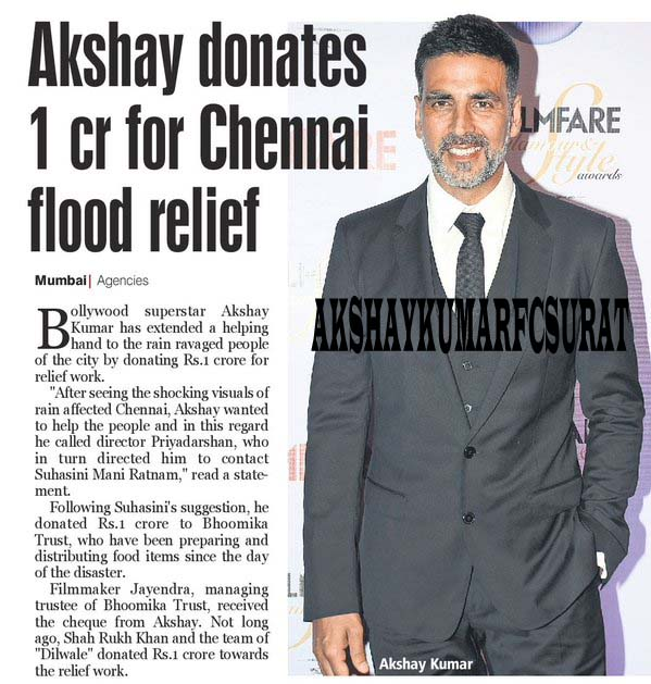 Image result for AKSHAY KUMAR chennai flood