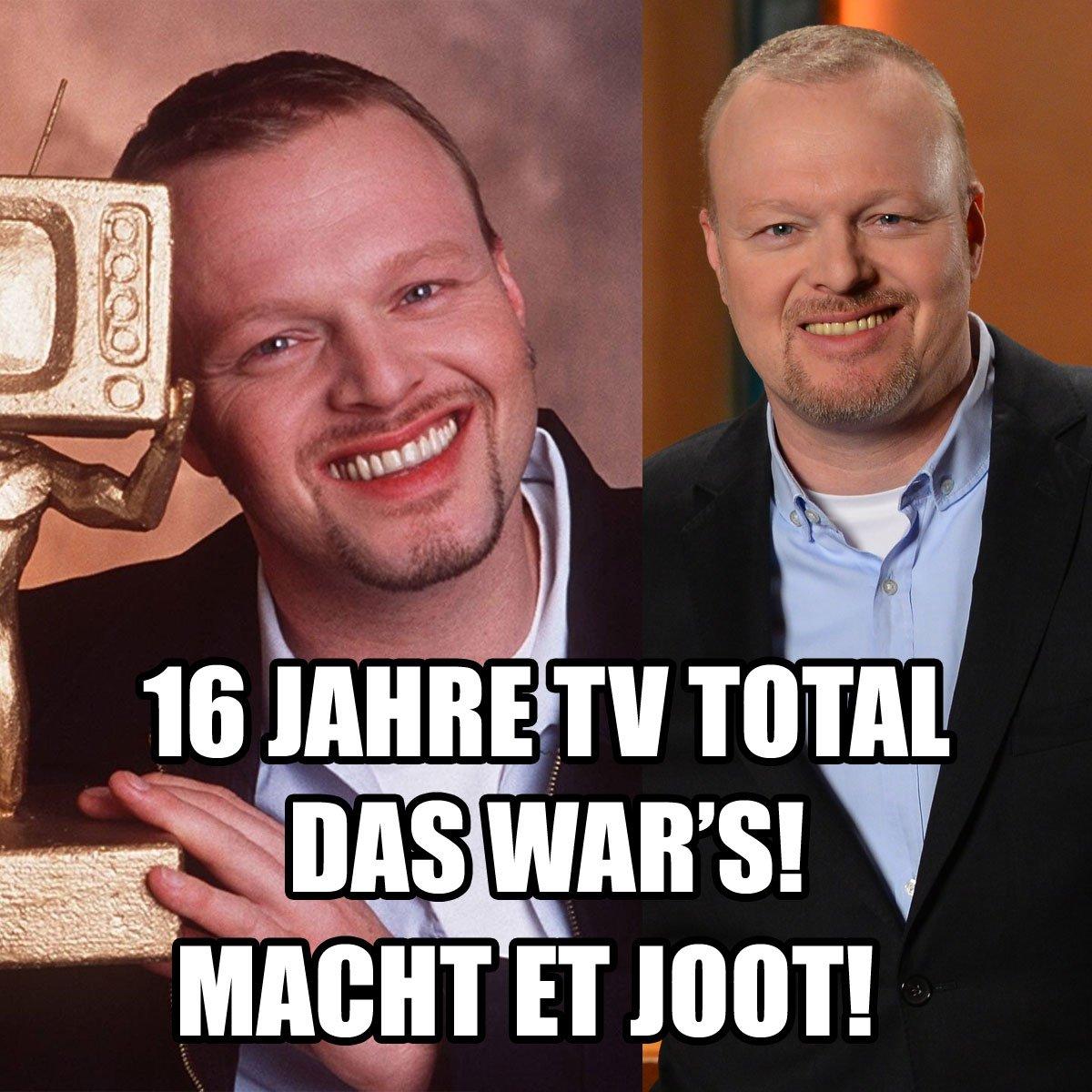16 Jahre #tvtotal - traurig, aber wahr ... das war's! Danke fürs Zuschauen! #Raabschied https://t.co/8gl7zuuGLj
