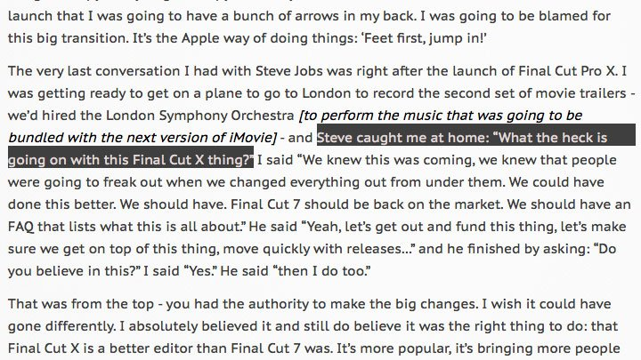 Final Cut Pro X creator @ubillos on his conversation about #fcpx with Steve Jobs https://t.co/p0hxGXbvz9 @siracusa https://t.co/CozbBJExxK