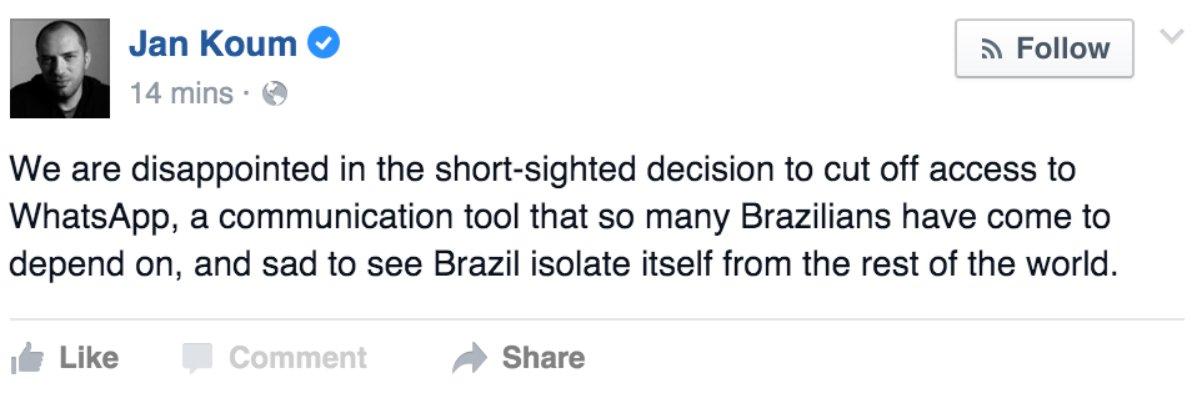 """Brasil se isolou do resto do mundo"", diz criador do WhatsApp @jankoum - https://t.co/YINTKZiSwo https://t.co/BGrGobIqMu"