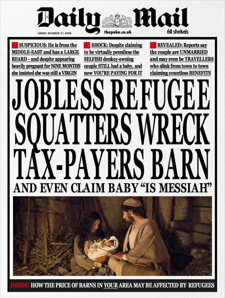 British Daily Mail Anti Refugee Witch Hunt And Christmas Satire