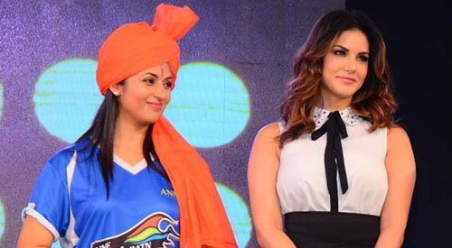 Divyanka Tripathi and Sunny Leone at BCL 2015 Box Cricket League 2015 launch