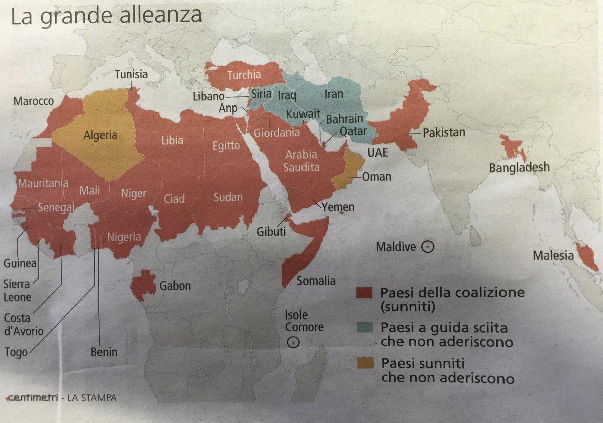 """#DailyMap 16/12 L'#ArabiaSaudita ha diramato la lista dei paesi che combatteranno l'#Isis e """"tutti il terrorismi"""" https://t.co/whnf9cRhJv"""