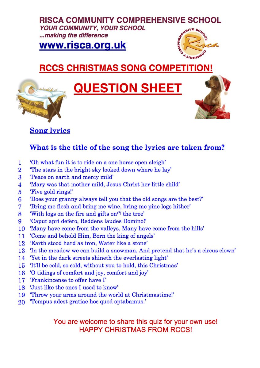 risca ccs on twitter how well do you know your christmas carols and songs twenty to identify answers tomorrow httpstcojsawqb2uya
