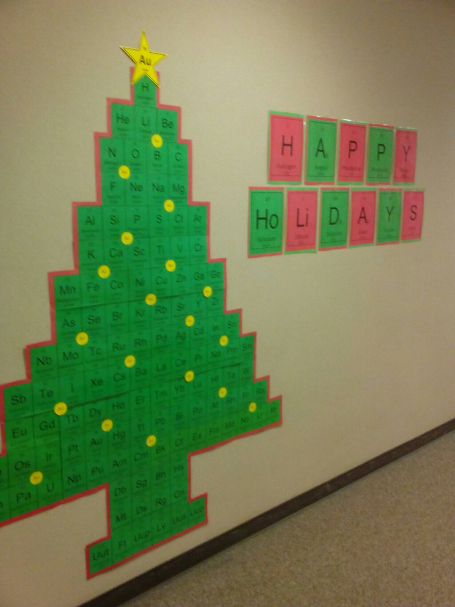 Meant to post this earlier - one or our chem teachers put up a sweet chemistree in the hall. https://t.co/IzfoJVtdv7