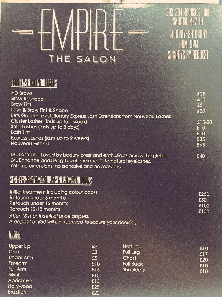 Empire The Salon On Twitter The Price List Empire The Salon