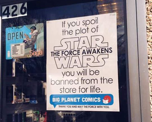 I imagine there's signs like this in nerd stores everywhere today. #StarWarsTheForceAwakens #marketing (via @Radass) https://t.co/2y3DF3E8EH
