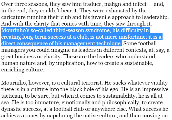 Still the greatest two paragraphs written in football journalism. #Mourinho https://t.co/k5EQlkrbXJ