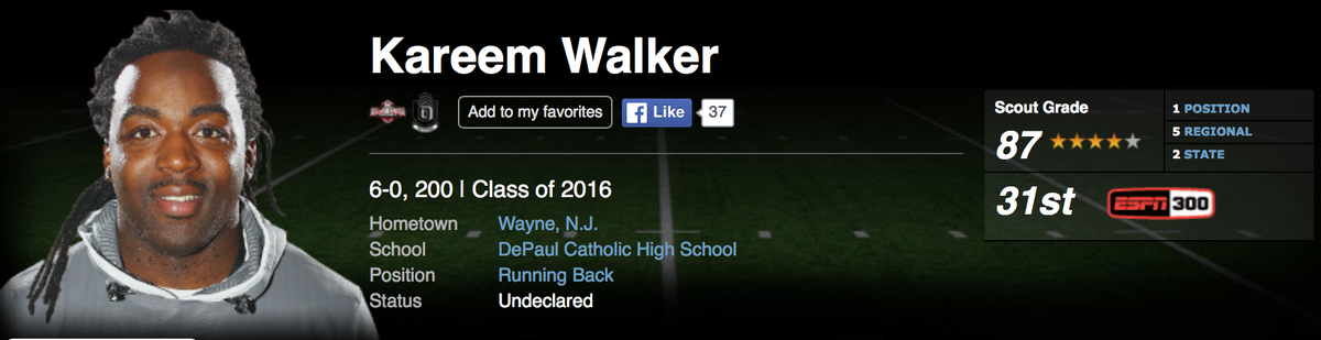 No. 1 RB Kareem Walker has committed to Michigan. Walker gives Wolverines 9 ESPN300 commits in the 2016 class. https://t.co/9KfjALVoQ7