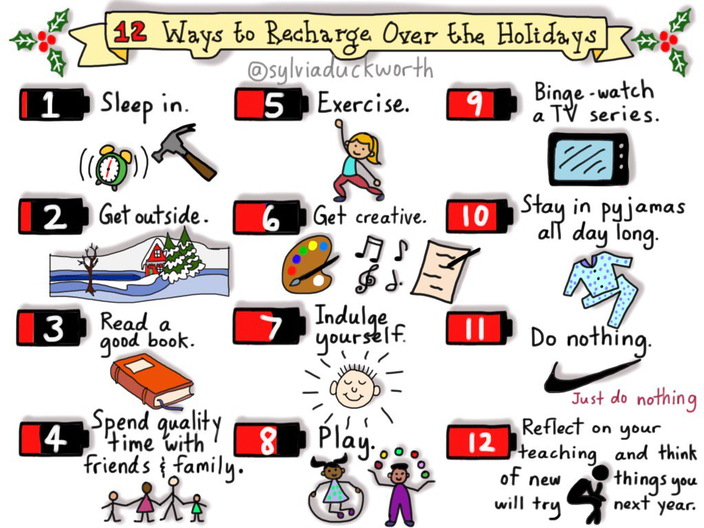 To my lovely PLN: New #Sketchnote 12 Ways to Recharge Over The Holidays HAPPY HOLIDAYS! #edchat #edtech cc @dougpete https://t.co/e1Fdl0hSPl