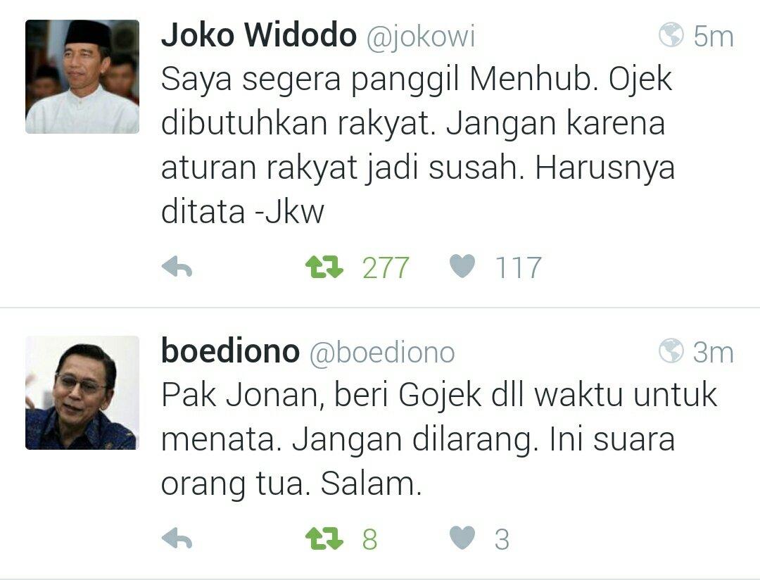matur nuwun pak @jokowi dan pak @boediono ! #savegojek @gojekindonesia https://t.co/0z8CC4Rk6u