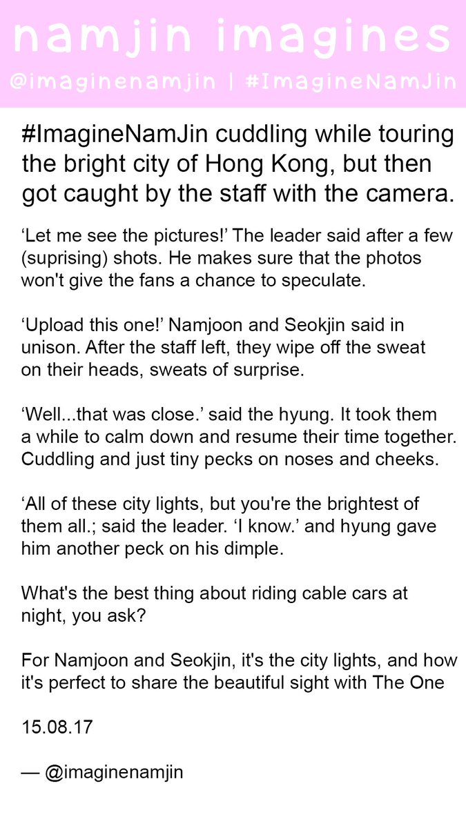 Namjin imagines on twitter imaginenamjin cuddling while namjin imagines on twitter imaginenamjin cuddling while touring the bright city of hong kong getting caught by the staff with the camera biocorpaavc Gallery