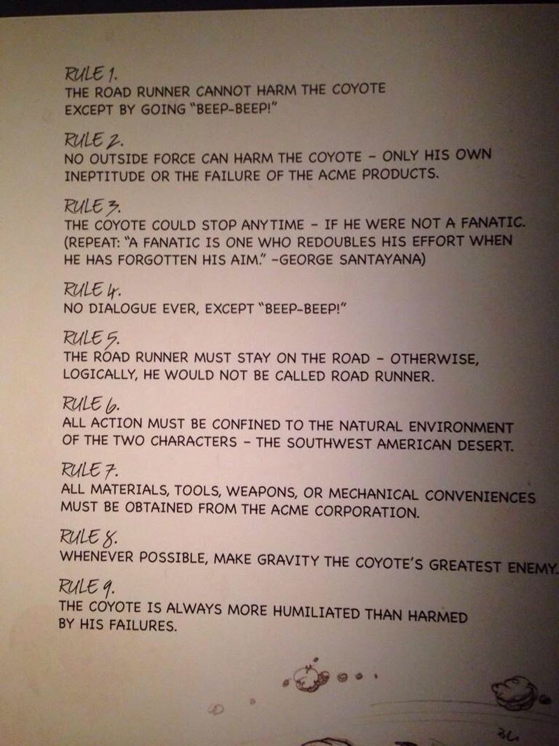 Somehow I missed the incredibly amazing #ChuckJones rules for #Roadrunner cartoons.until now... https://t.co/sM9XIi4gIN