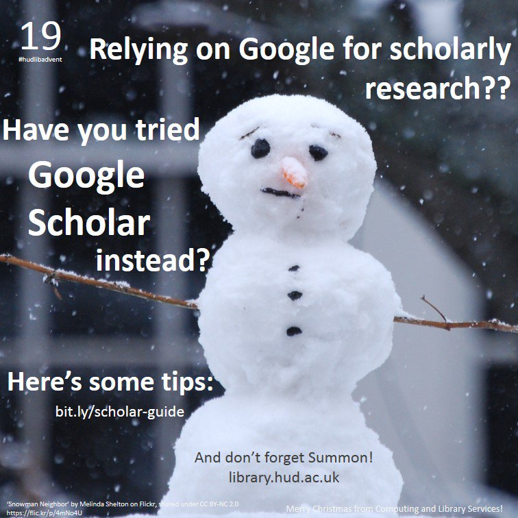 For #hudlibadvent Day 19, here's some tips on best use of Google Scholar... https://t.co/lm1VGjsyfm https://t.co/fAwtqlfsNm