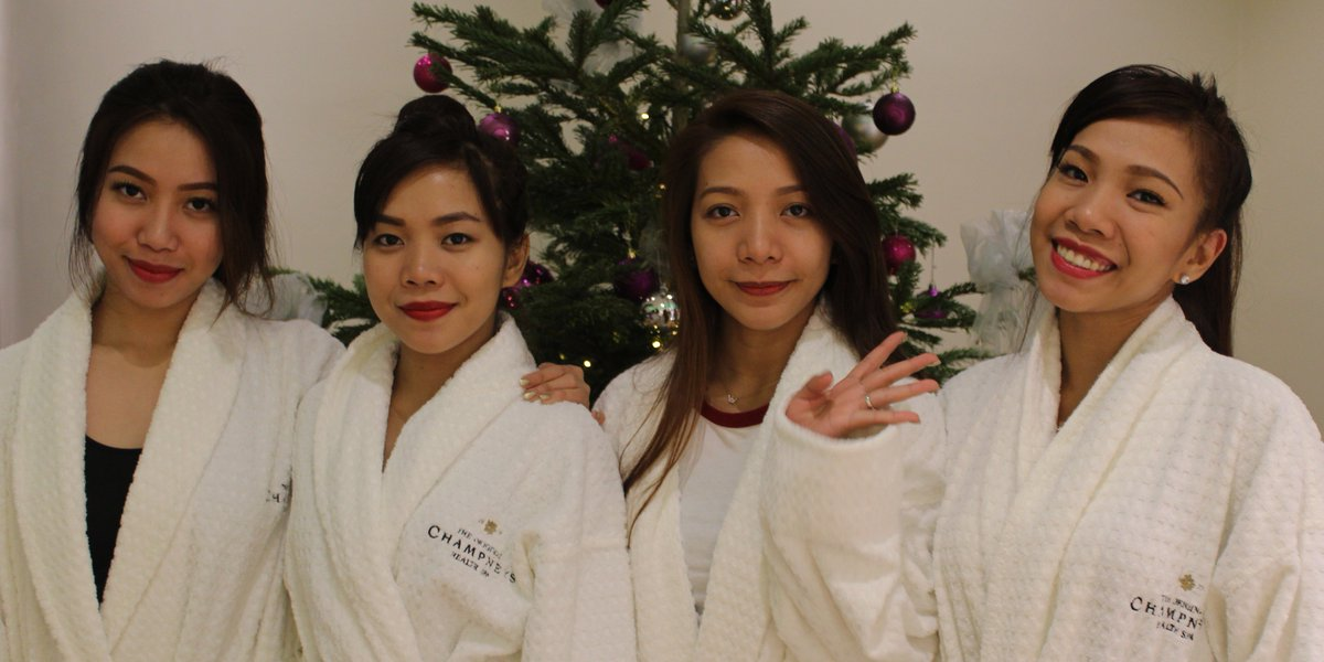 Robed and relaxed, the @4thImpactMusic girls embracing the #Champneys philosophy. @TheXFactor https://t.co/QlF2w4e42K