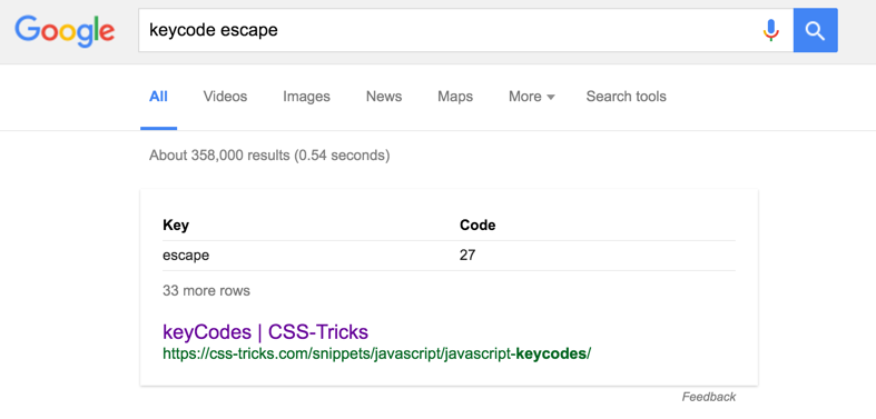 Google helpfully spitting out keycodes on demand. Nice. https://t.co/opNAFWaQLA