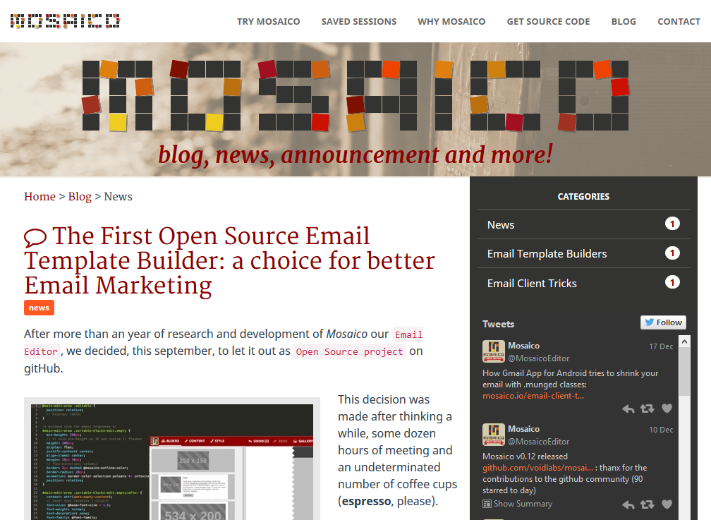 Mosaico MosaicoEditor Twitter - Email template builder open source