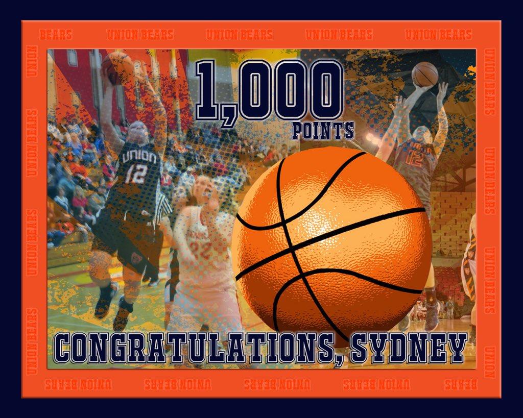 Congrats on 1,000 pts Sydney! @unionladybears @unionbearslive