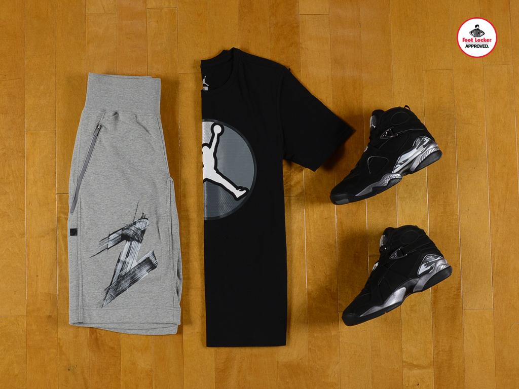 b44671f36be1d7 jordan 8 chrome collection retro 8 always reppin tee x fleece shorts in  store amp online