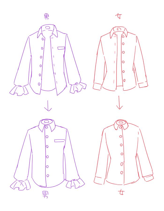 ファッション的にわざと描いているわけでもないor男物のスーツなのに女物仕様になっているのを見かけてホァ?ってなることがたまにある。左右反転しながら描いている人も要注意案件の男女のボタンの掛け方。 https://t.co/xtEjMtD5E9
