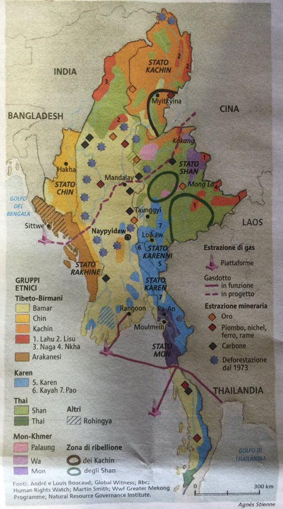 #DailyMap 19/12 Capire la #Birmania. 17 gruppi etnici per uno stato. Ecco com'è il paese e quali sono le sue risorse https://t.co/5P12Q3Mnjz