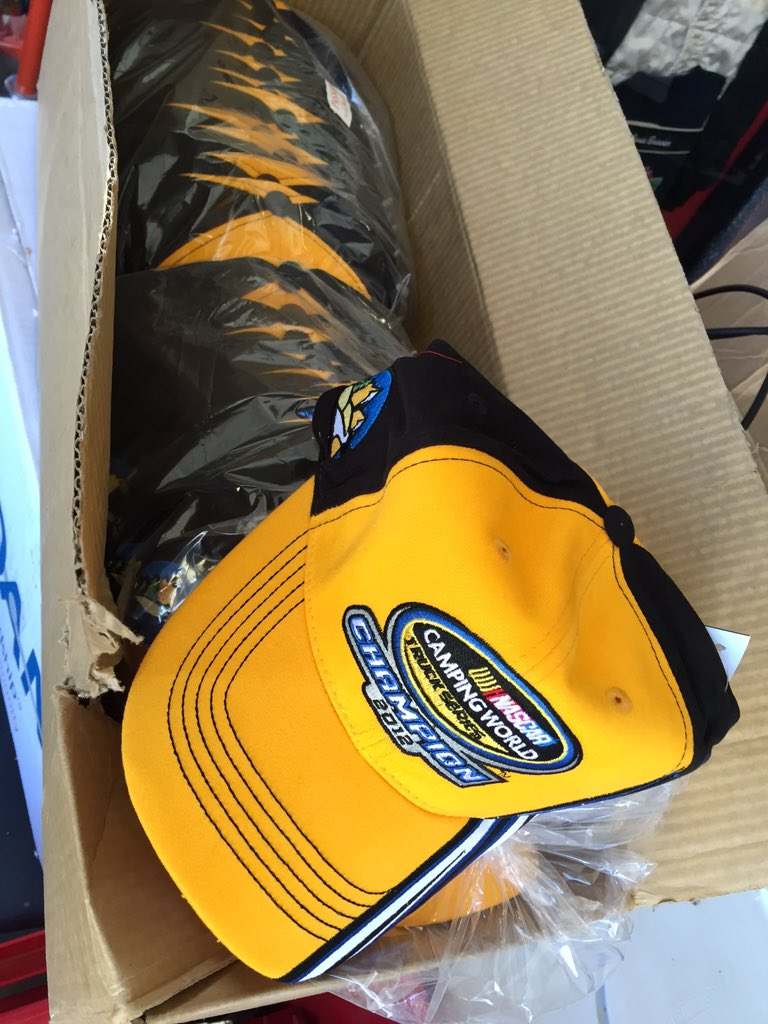 Found a box of 2012 @NASCAR_Trucks Champion hats while we were packing... I say we do a few giveaways! Who wants 1? https://t.co/QWfZqMp8wE