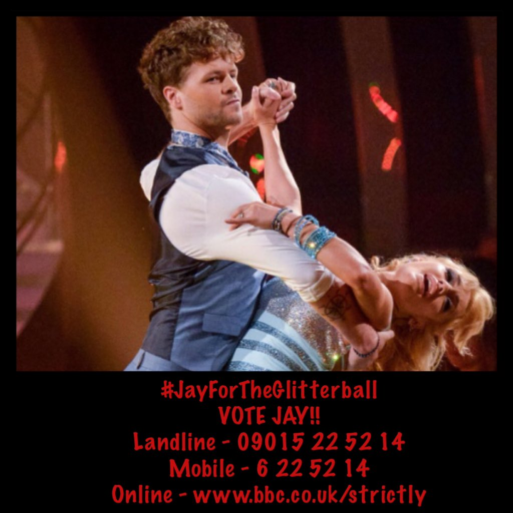 You have until 8.30 to vote for Jay - vote as many times as you possibly can!!! #JayForTheGlitterball See pic! https://t.co/hhbFJSXjET