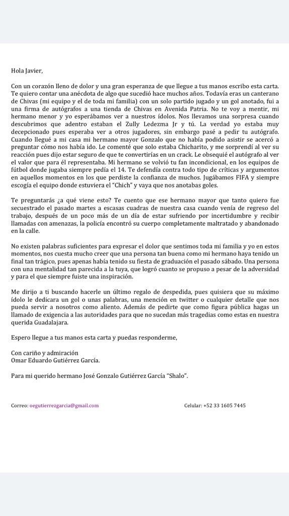 La triste carta que recibió Chicharito
